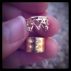 Jewelry - 2 gold tone ear cuffs heart crown hammered